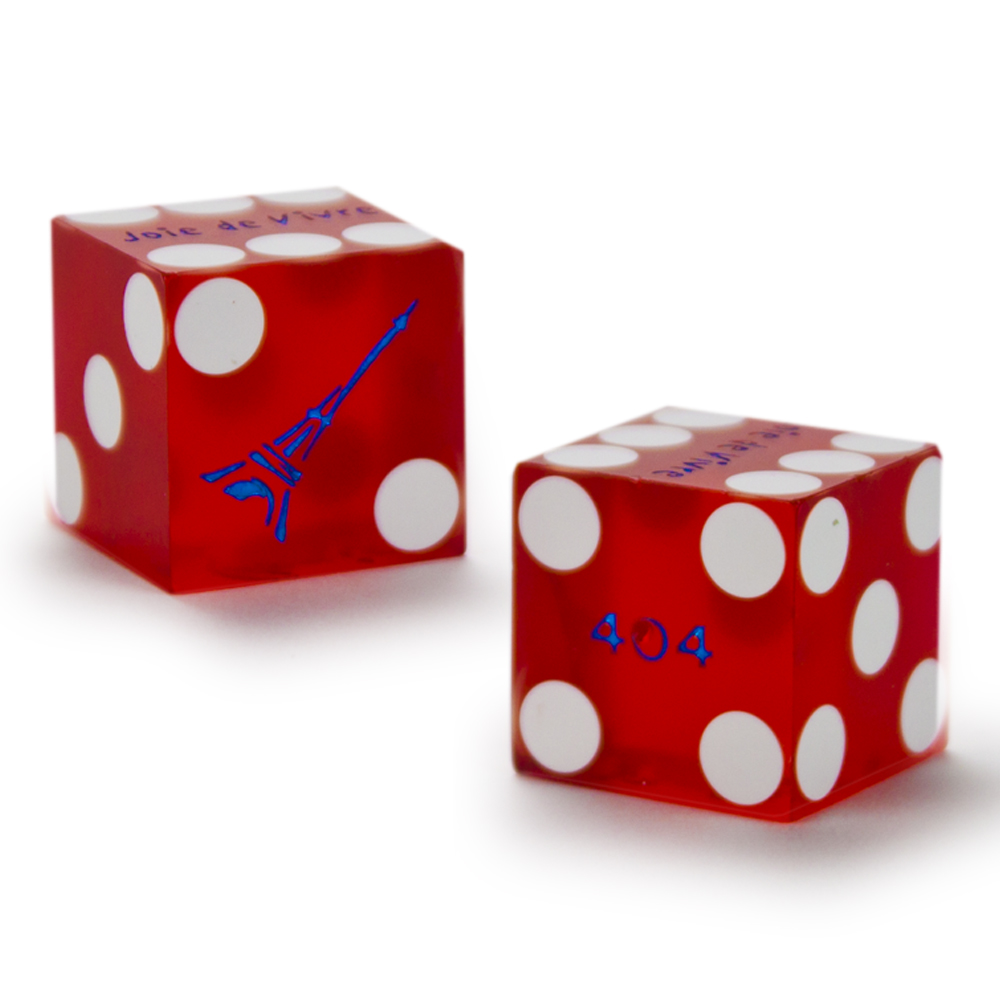 Pair 2 Of 19mm Dice Used At The Paris Las Vagas Casino